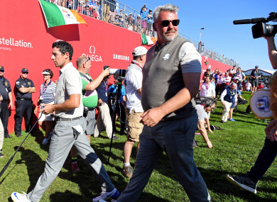 Rory McIlroy and Darren Clarke pictured during the 2016 Ryder Cup.