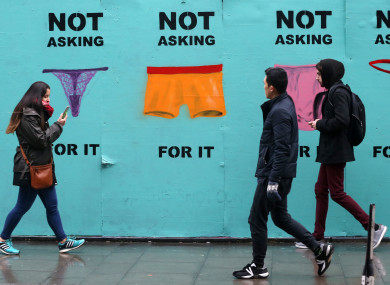 A mural highlighting consent which has been set up next to the Bernard Shaw in Dublin
