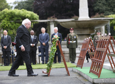 President Higgins at the War Memorial Gardens at a Somme commemoration ceremony in 2016.