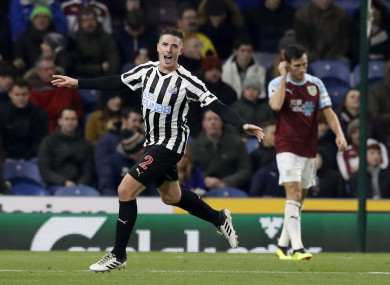 Clarke celebrates doubling Newcastle's lead on Monday night at Turf Moor.