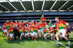 Paul Coady (right) celebrates with Carlow team-mates in Croke Park in July.