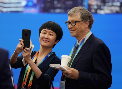 Gates posing for a selfie before his speech