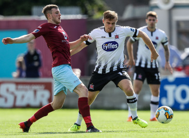 Georgie Poynton in possession for Dundalk during their 2018 EA Sports Cup semi-final against Cobh Ramblers.