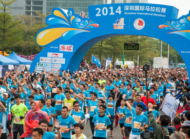 The Shenzhen half marathon attracts thousands of runners each year.