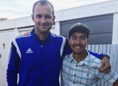 In this October 2018 photo, American John Allen Chau, right, stands for a photograph with Founder of Ubuntu Football Academy Casey Prince, 39, just days before he left for India.