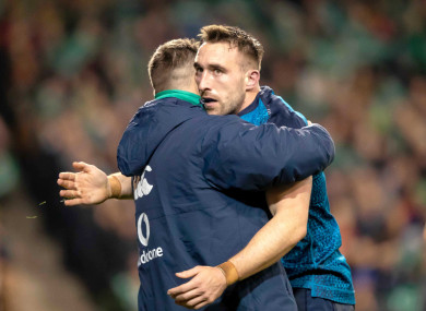 Conan celebrates his try with Cian Healy.