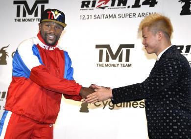 Floyd Mayweather and Japanese kickboxer Tenshin Nasukawa.