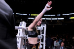 Katie Taylor salutes the Boston crowd after victory over Cindy Serrano last month