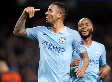 Manchester City's Gabriel Jesus celebrates scoring his side's sixth goal of the game.