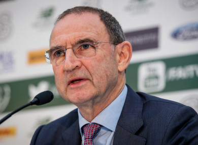Ireland manager Martin O'Neill pictured speaking at Tuesday's press conference.
