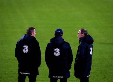 Last stand: Martin O'Neill with assistant manager Roy Keane and coach Steve Guppy in Aarhus.
