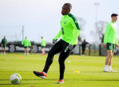 Michael Obafemi pictured during Ireland training this week.
