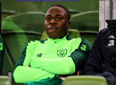 Michael Obafemi pictured on the bench during Thursday night's match.
