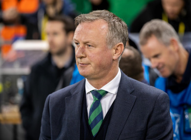 Northern Ireland boss Michael O'Neill pictured last night at the Aviva Stadium.