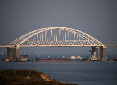 The Kerch bridge which was blocked during the incident.