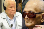 Khieu Samphan (L) and Nuon Chea (R) before a hearing at the U.N.-backed war crimes tribunal in Phnom Penh.