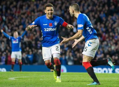 Rangers Eros Grezda (right) celebrates scoring his side's sixth goal of the game.