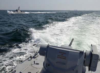 Photo distributed by Ukrainian Navy Press Service of two of its vessels near Crimea.