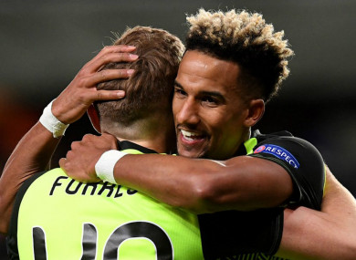 Celtic goalscorer Scott Sinclair celebrates with James Forrest