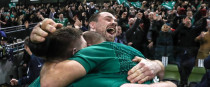 Ireland's Cian Healy, Tadhg Furlong and Rory Best celebrate beating the All Blacks.