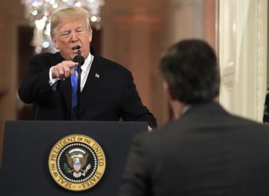 US president Donald Trump and CNN's Jim Acosta