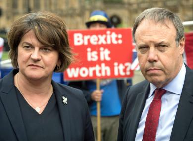 DUP leader Arlene Foster and deputy leader Nigel Dodds in Westminster earlier this year.