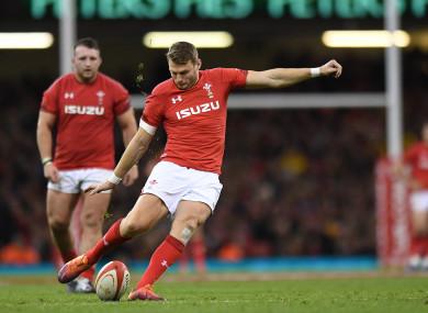 Dan Biggar in action for Wales against Australia.