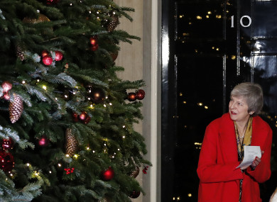 Theresa May attends the ceremony to light up a Christmas tree at 10 Downing Street.