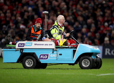 Chris Cloete was stretchered off with a neck injury during Munster's win against Leinster on Saturday.