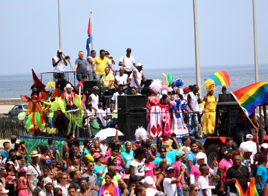 Activists participating in a demonstration for the rights of LGBT people in Havana, Cuba on 13 May 2017