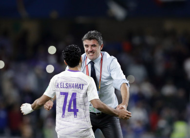 Al Ain head coach Zoran Mamic, right, celebrates with Hussein Elshahat.