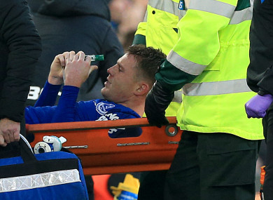 McCarthy pictured being stretchered off against West Brom.