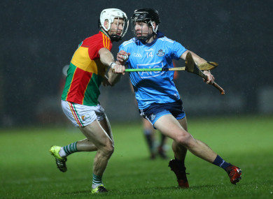 Jack Kavanagh and Dublin's Donal Burke compete for possession.