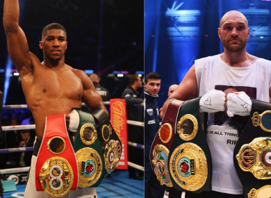 Composite image of Anthony Joshua (L) and Tyson Fury as world heavyweight champion