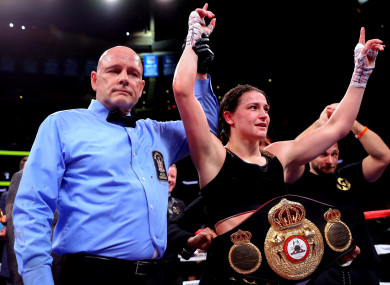Katie Taylor celebrates victory over Eva Wahlstrom on Saturday.