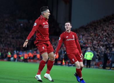 Roberto Firmino celebrates scoring Liverpool's first goal.