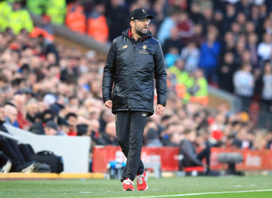 Jurgen Klopp pictured during today's Liverpool-Newcastle match.