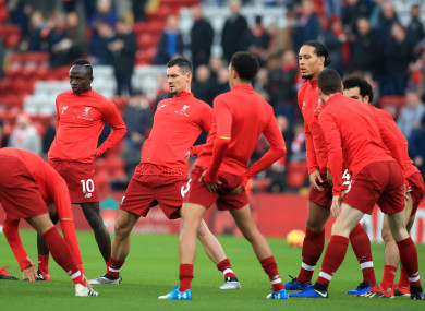 Liverpool players warm up (file pic).