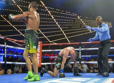 Vasiliy Lomachenko after his second knock down of Jose Pedraza.