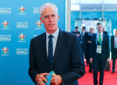 Mick McCarthy pictured at today's Euro 2020 draw.