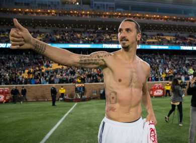 Ibrahimovic pictured in October following LA Galaxy's meeting with Minnesota United.