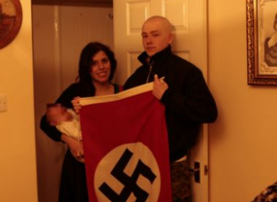 Patatas and Thomas pictured with a Nazi flag.