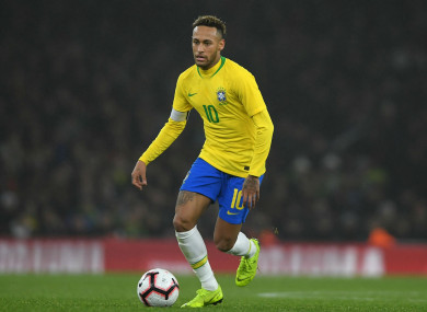 Neymar in action for Brazil