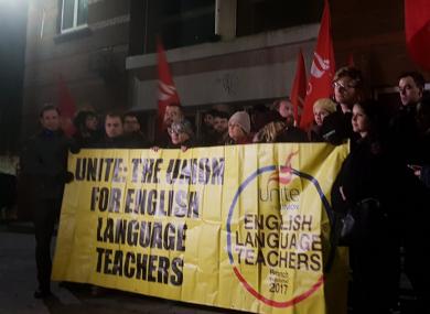 Grafton College teachers protesting this evening.