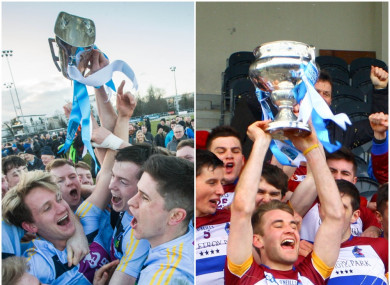 UCD and UL players rejoice after winning the Sigerson and Fitzgibbon Cups respectively earlier this year.