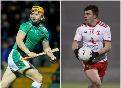 Seamus Flanagan of Limerick and Tyrone's Lee Brennan.