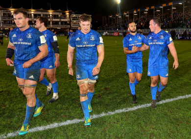 From left: Rhys Ruddock, Andrew Porter, Josh van der Flier, Jamison Gibson-Park and Ed Byrne leave the field after a win in Bath.
