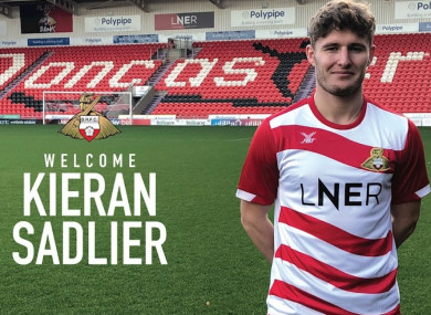 Sadlier in the Doncaster shirt.