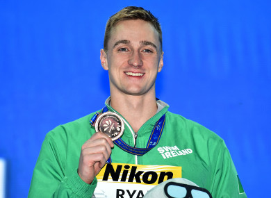 Shane Ryan pictured with his 50m backstroke bronze medal.