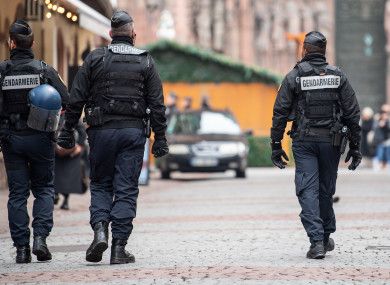 Policemen patrol in the vicinity of the Strasbourg Christmas market